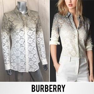BURBERRY Prorsum RARE Ombre Lace Button Down Top